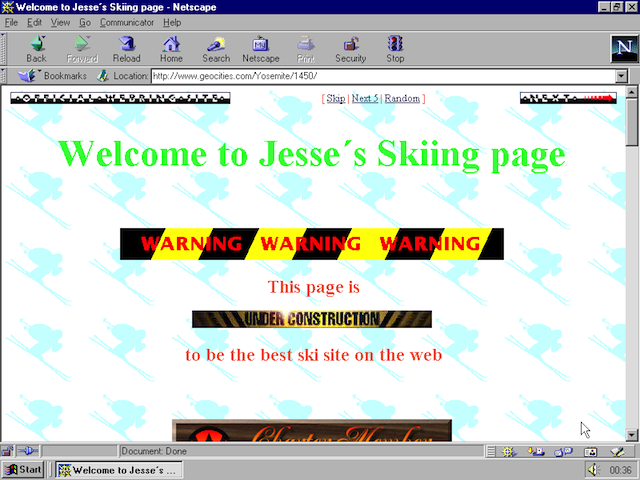 When developing a website, the fundamental language being used is HTML. So if you wanted to make a site that looked like a 90s Geocities site (like above), the #1 skill you would first learn is HTML. Then you would add CSS to add better styling, and finally you might employ JavaScript to add interactive elements.